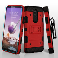 3-IN-1 Military Grade Certified Storm Tank Case + Holster + Tempered Glass Screen Protector for LG Stylo 5 - Red