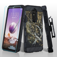 3-IN-1 Military Grade Certified Storm Tank Case + Holster + Tempered Glass Screen Protector for LG Stylo 5 - Tree
