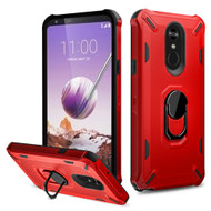 *Sale* Military Grade Certified Brigade Hybrid Armor Case with Metal Ring Finger Loop Stand for LG Stylo 5 - Red