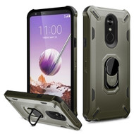 *Sale* Military Grade Certified Brigade Hybrid Armor Case with Metal Ring Finger Loop Stand for LG Stylo 5 - Dark Grey
