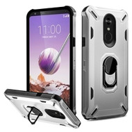 *Sale* Military Grade Certified Brigade Hybrid Armor Case with Metal Ring Finger Loop Stand for LG Stylo 5 - Silver