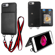 Suspend Wallet Case with Detachable Lanyard for iPhone 8 Plus / 7 Plus - Black
