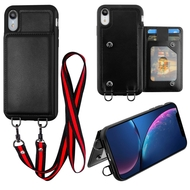 Suspend Wallet Case with Detachable Lanyard for iPhone XR - Black