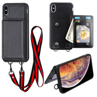 Suspend Wallet Case with Detachable Lanyard for iPhone XS Max - Black