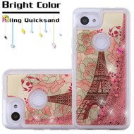 *Sale* Quicksand Glitter Transparent Case for Google Pixel 3a XL - Eiffel Tower