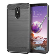 Brushed Metal Design Rugged Armor Case for LG Stylo 5 - Grey