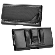 Ballistic Nylon and Leather Protective Horizontal Pouch Case - Black