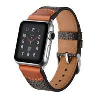 Crossgrain Texture Genuine Leather Strap Watch Band for Apple Watch 44mm / 42mm - Black