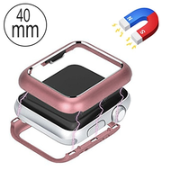 Magnetic Adsorption Aluminum Bumper Case for Apple Watch 40mm Series 4 - Rose Gold