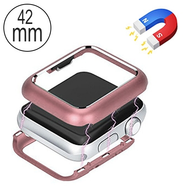 Magnetic Adsorption Aluminum Bumper Case for Apple Watch 42mm Series 1 / 2 / 3 - Rose Gold