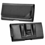Ballistic Nylon and Leather Protective Horizontal Pouch Case - Black 70624