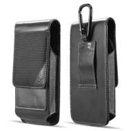 Ballistic Nylon and Leather Protective Vertical Pouch Case with Carabiner Clip - Black