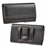 Premium Leather Horizontal Pouch Case - Black