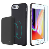 3-IN-1 Tuffy Pack Magnetic Wireless Charging Battery Case with Tempered Glass Screen Protector for iPhone 8 Plus - Black