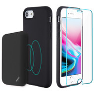 3-IN-1 Tuffy Pack Magnetic Wireless Charging Battery Case with Tempered Glass Screen Protector for iPhone 8 - Black