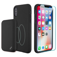 3-IN-1 Tuffy Pack Magnetic Wireless Charging Battery Case with Tempered Glass Screen Protector for iPhone XS / X - Black