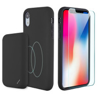 3-IN-1 Tuffy Pack Magnetic Wireless Charging Battery Case with Tempered Glass Screen Protector for iPhone XR - Black