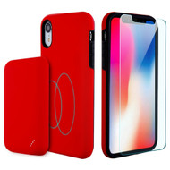 3-IN-1 Tuffy Pack Magnetic Wireless Charging Battery Case with Tempered Glass Screen Protector for iPhone XR - Red