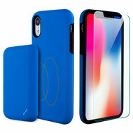 3-IN-1 Tuffy Pack Magnetic Wireless Charging Battery Case with Tempered Glass Screen Protector for iPhone XR - Blue