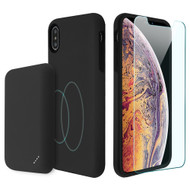 3-IN-1 Tuffy Pack Magnetic Wireless Charging Battery Case with Tempered Glass Screen Protector for iPhone XS Max - Black