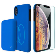 3-IN-1 Tuffy Pack Magnetic Wireless Charging Battery Case with Tempered Glass Screen Protector for iPhone XS Max - Blue