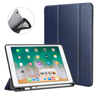 Premium Smart Leather Hybrid Case with Apple Pencil Holder for iPad 9.7 (2018/2017) - Navy Blue
