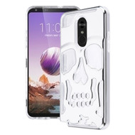 Military Grade Certified Skullcap Lucid Transparent Hybrid Armor Case for LG Stylo 5 - Silver Clear