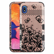 Military Grade Certified TUFF Hybrid Armor Case for Samsung Galaxy A10e - Lace Flowers Rose Gold