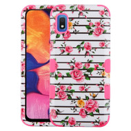 Military Grade Certified TUFF Hybrid Armor Case for Samsung Galaxy A10e - Pink Fresh Roses