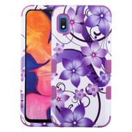 Military Grade Certified TUFF Hybrid Armor Case for Samsung Galaxy A10e - Purple Hibiscus Flower Romance