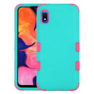 Military Grade Certified TUFF Hybrid Armor Case for Samsung Galaxy A10e - Teal Green Hot Pink