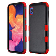 Military Grade Certified TUFF Hybrid Armor Case for Samsung Galaxy A10e - Black Red