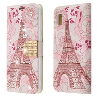 Luxury Bling Portfolio Leather Wallet Case for Samsung Galaxy A10e - Eiffel Tower