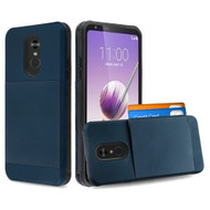 Compact Duo Credit Card Hybrid Armor Case for LG Stylo 5 - Navy Blue