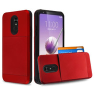 Compact Duo Credit Card Hybrid Armor Case for LG Stylo 5 - Red