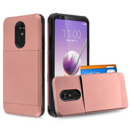 Compact Duo Credit Card Hybrid Armor Case for LG Stylo 5 - Rose Gold