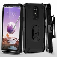 Military Grade Certified Brigade Hybrid Case with Holster and Tempered Glass Screen Protector for LG Stylo 5 - Black
