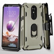 Military Grade Certified Brigade Hybrid Case with Holster and Tempered Glass Screen Protector for LG Stylo 5 - Dark Grey