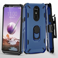 Military Grade Certified Brigade Hybrid Case with Holster and Tempered Glass Screen Protector for LG Stylo 5 - Navy Blue