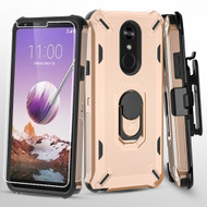 Military Grade Certified Brigade Hybrid Case with Holster and Tempered Glass Screen Protector for LG Stylo 5 - Rose Gold
