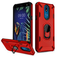 Military Grade Certified Brigade Hybrid Armor Case with Metal Ring Finger Loop Stand for LG K40 - Red