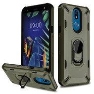 Military Grade Certified Brigade Hybrid Armor Case with Metal Ring Finger Loop Stand for LG K40 - Dark Grey