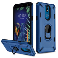 Military Grade Certified Brigade Hybrid Armor Case with Metal Ring Finger Loop Stand for LG K40 - Navy Blue