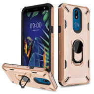 Military Grade Certified Brigade Hybrid Armor Case with Metal Ring Finger Loop Stand for LG K40 - Rose Gold