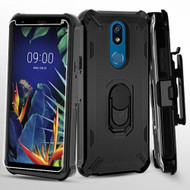 Military Grade Certified Brigade Hybrid Case with Holster and Tempered Glass Screen Protector for LG K40 - Black