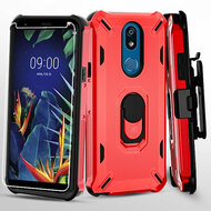 Military Grade Certified Brigade Hybrid Case with Holster and Tempered Glass Screen Protector for LG K40 - Red