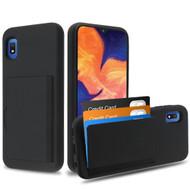 Poket Credit Card Hybrid Armor Case for Samsung Galaxy A10e - Black