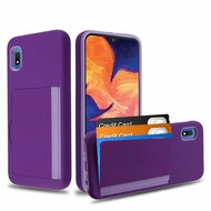 Poket Credit Card Hybrid Armor Case for Samsung Galaxy A10e - Purple