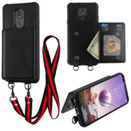 Suspend Wallet Case with Detachable Lanyard for LG Stylo 5 - Black