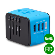 All-In-One World Travel Power Adapter with 4 USB Ports - Blue